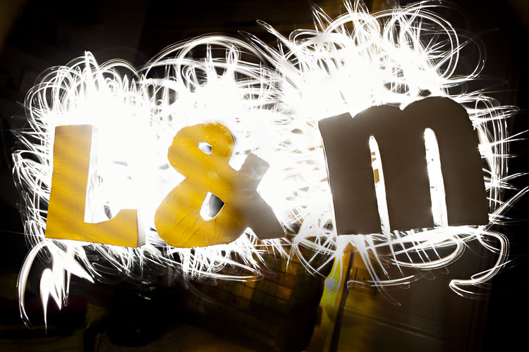 Our homemade letters being illuminated by a long exposure photograph